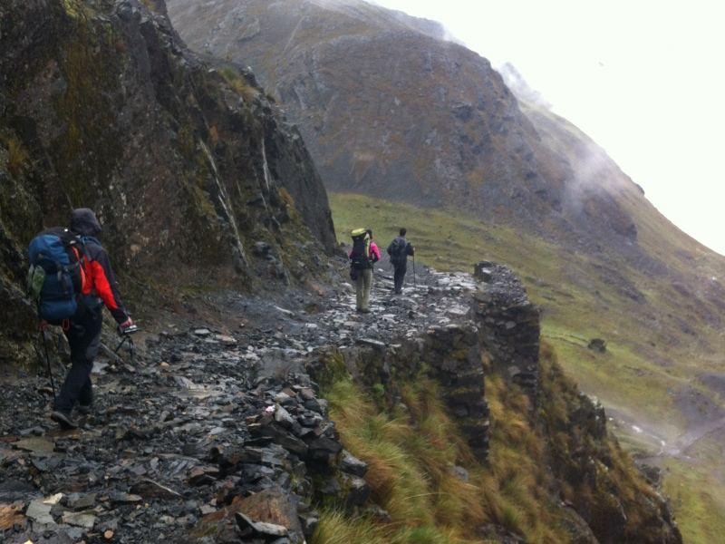 Hiking down from the pass on an Incan Staircase.