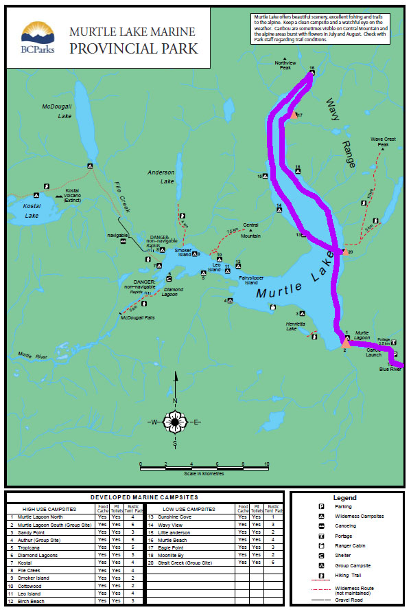 Map, Murtle Lake, BC - The Outdoor Adventure